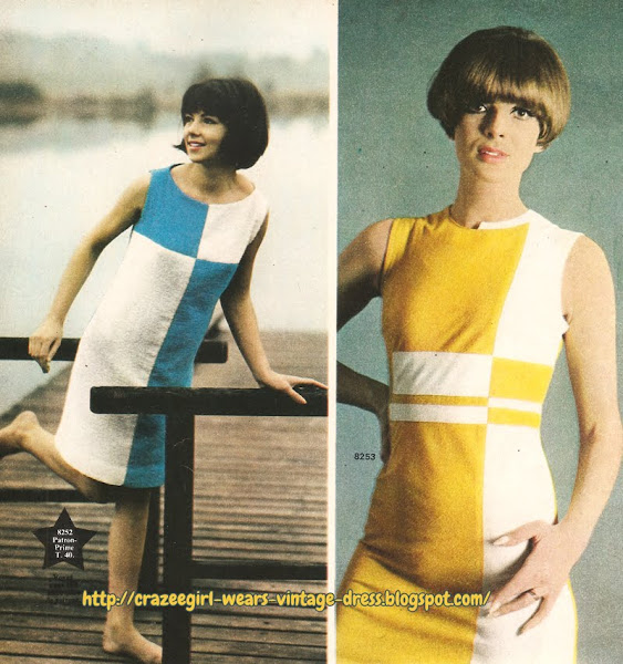 colorblock dress blue white yellow 60s 1960 mod sleeveless 1966