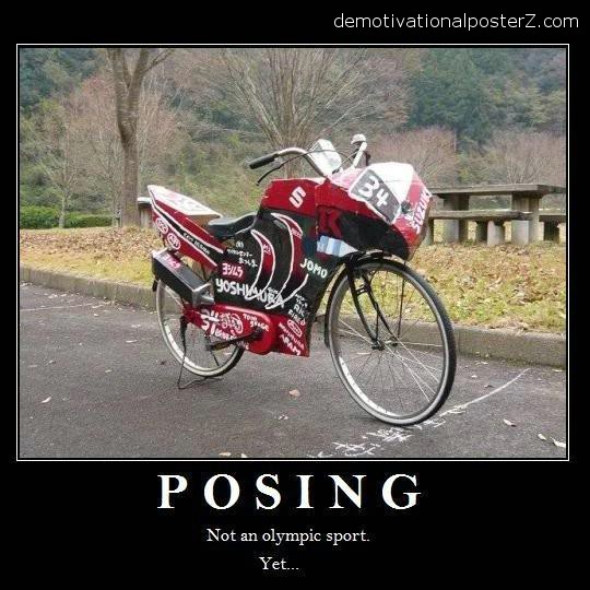 bicycle posing as a motorbike