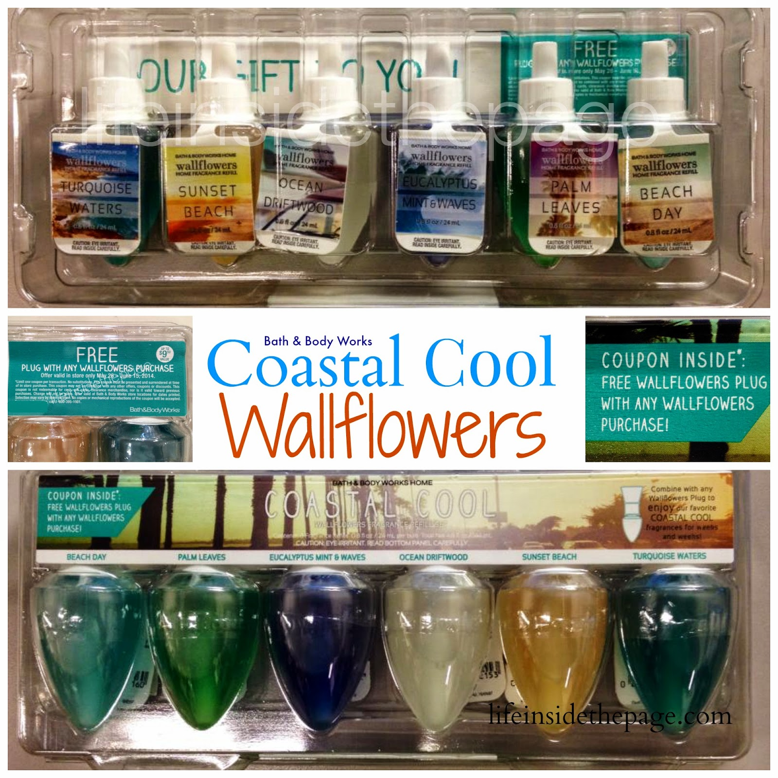 Bath & Body Works | Coastal Cool Wallflower | 6 pack with free wallflower unit coupon inside