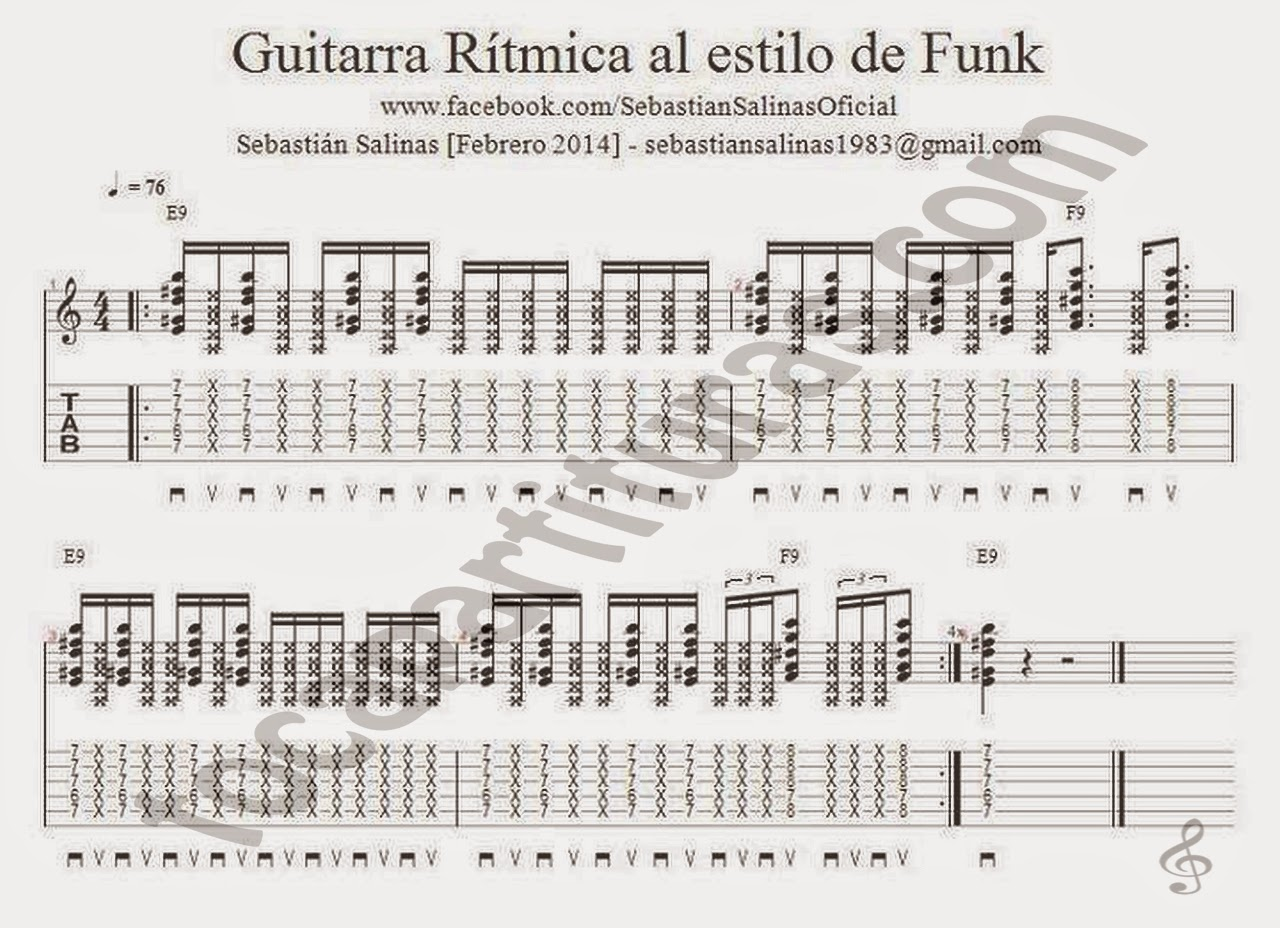 Ejercicio de Guitarra Rítmica al estilo de Funk Tablatura y partitura de Guitarra por Sebastián Salinas Profesor de Guitarra con semicorcheas Guitar Exercise Tablature for guitar beginners