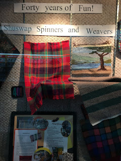 Tuesday night Spinning at the Library.  Our Display Case!