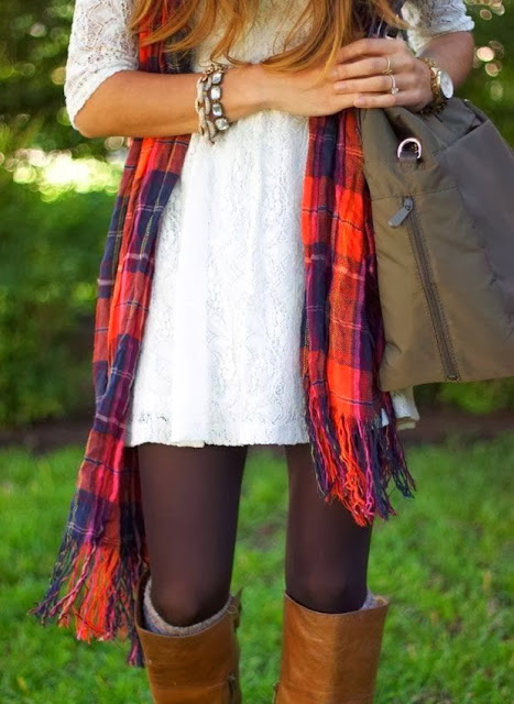See More White Lace Dress With Long Boots With Tights And Check Scarf