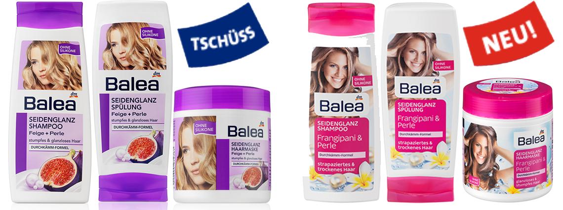 Balea, Seidenglanz Shampoo, Spülung, Haarkur, neues Design