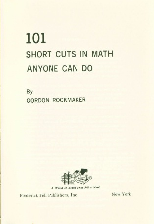101 Short Cuts in Maths Any One Can Do by Gordon Rockmaker PDF eBook