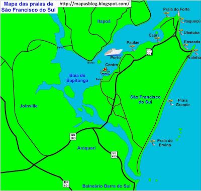 Mapa das praias de São Francisco do Sul