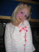 Another variation of the butterfly face painting. Fanny and Alina came over .