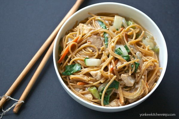 One pot Asian pasta -- healthy dinner in 10 minutes!