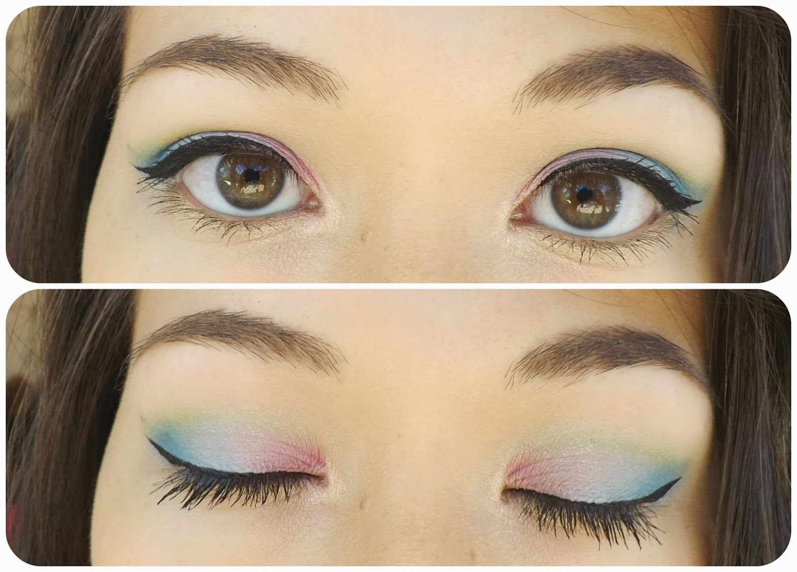 New Years Eve Tri Colour Eye Makeup Pink Blue And Green Taken