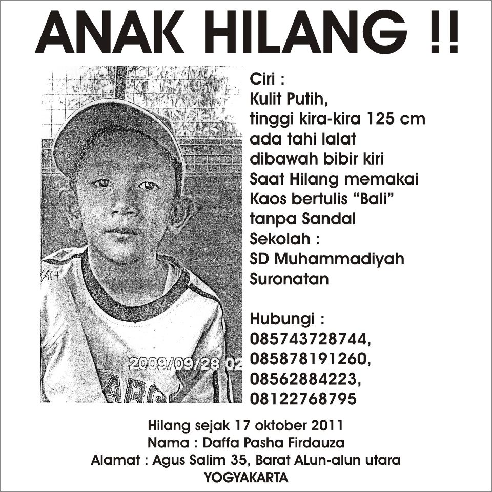 its me mohon bantuan info anak hilang semua yang dilihat di dengar di rasa dan di