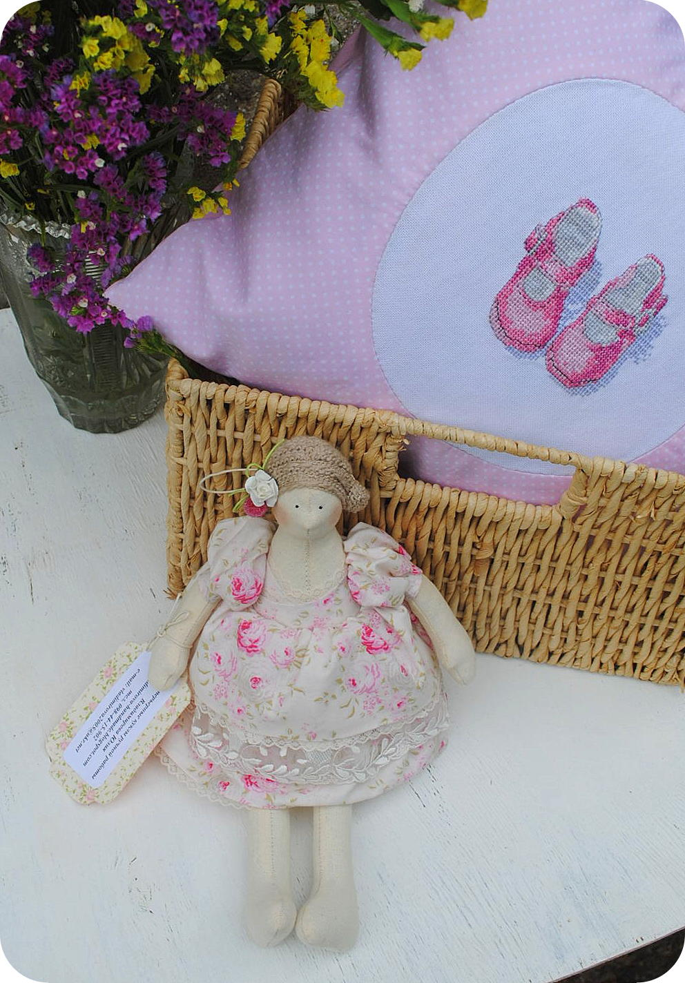 newborn, kids, baby, gift, sewing, embroidery, cross stitch, pink, girl, kids, buy, handmade, shoes, slippers, booties, natural, pillow, fairies, beautiful,doll, tilde, cotton