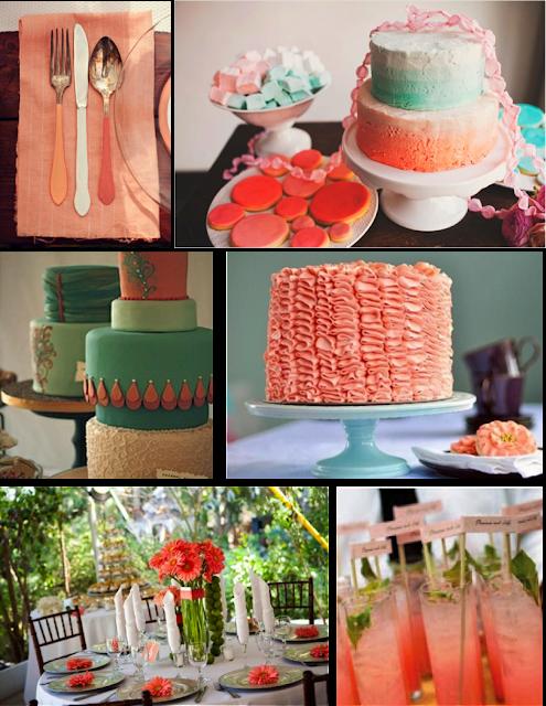 Decoracion para la mesa en color coral