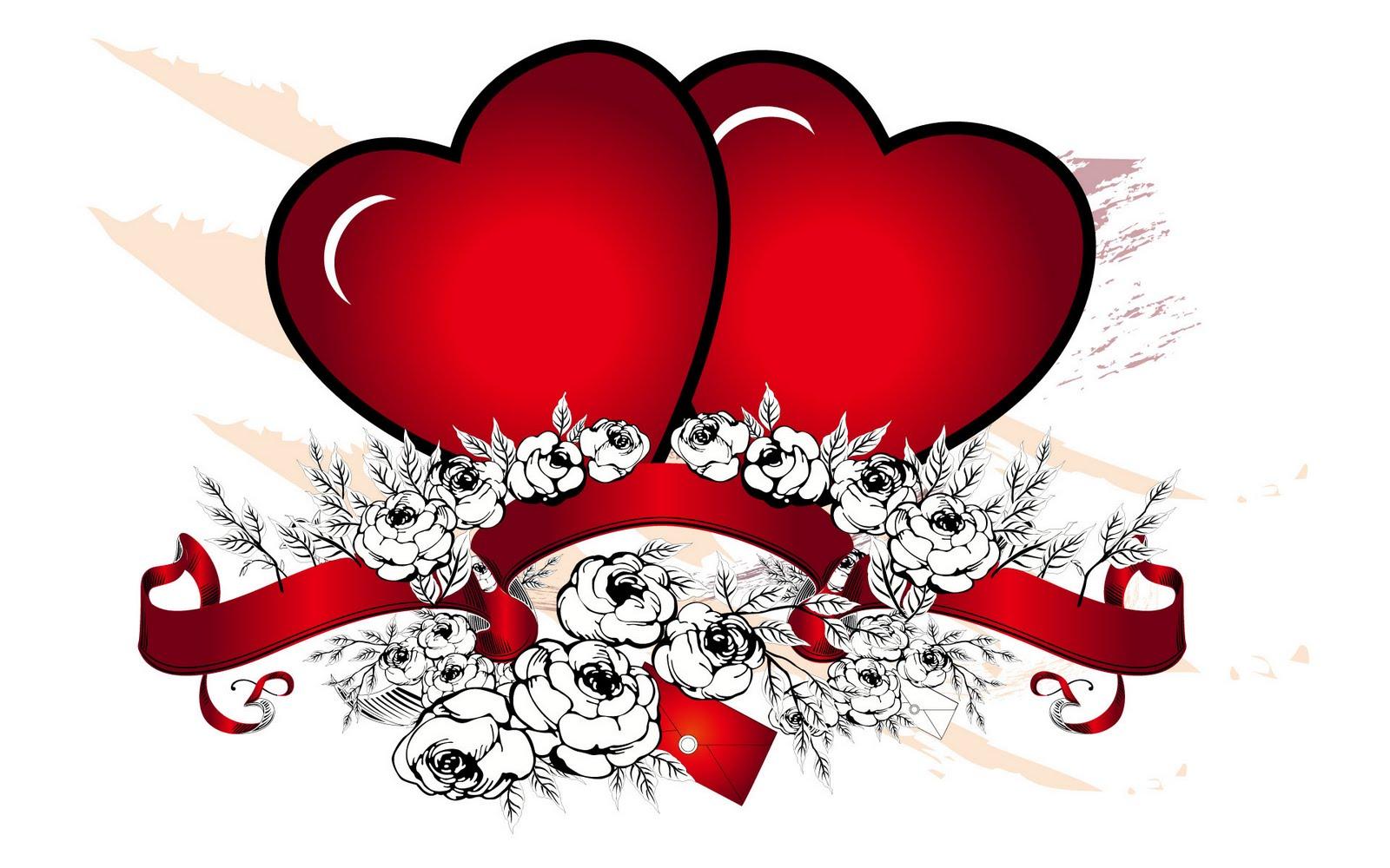 Romantische afbeelding met twee grote rode harten