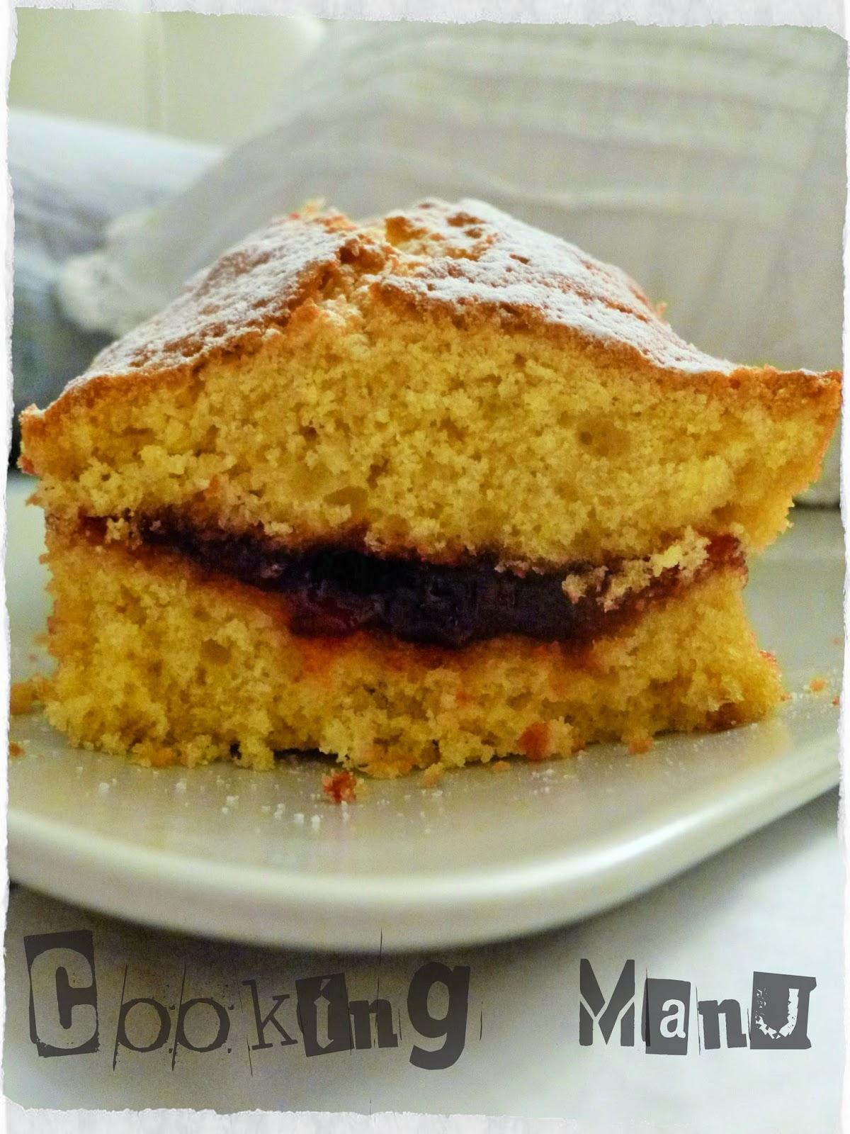 la torta margherita con marmellata di ciliegie