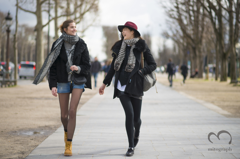 Model Estee Rammant and Yumi Lambert leaves CHANEL show during Paris Fashion Week 2014 Fall WInter PFW