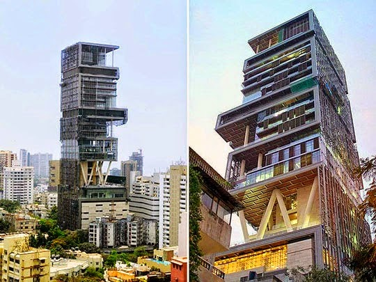 this building is a home of the most rich men in india mukesh ambani antilia how this house is called is considered as the biggest house of the world