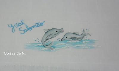 """""""fralda menino com pintura golfinhos"""""""