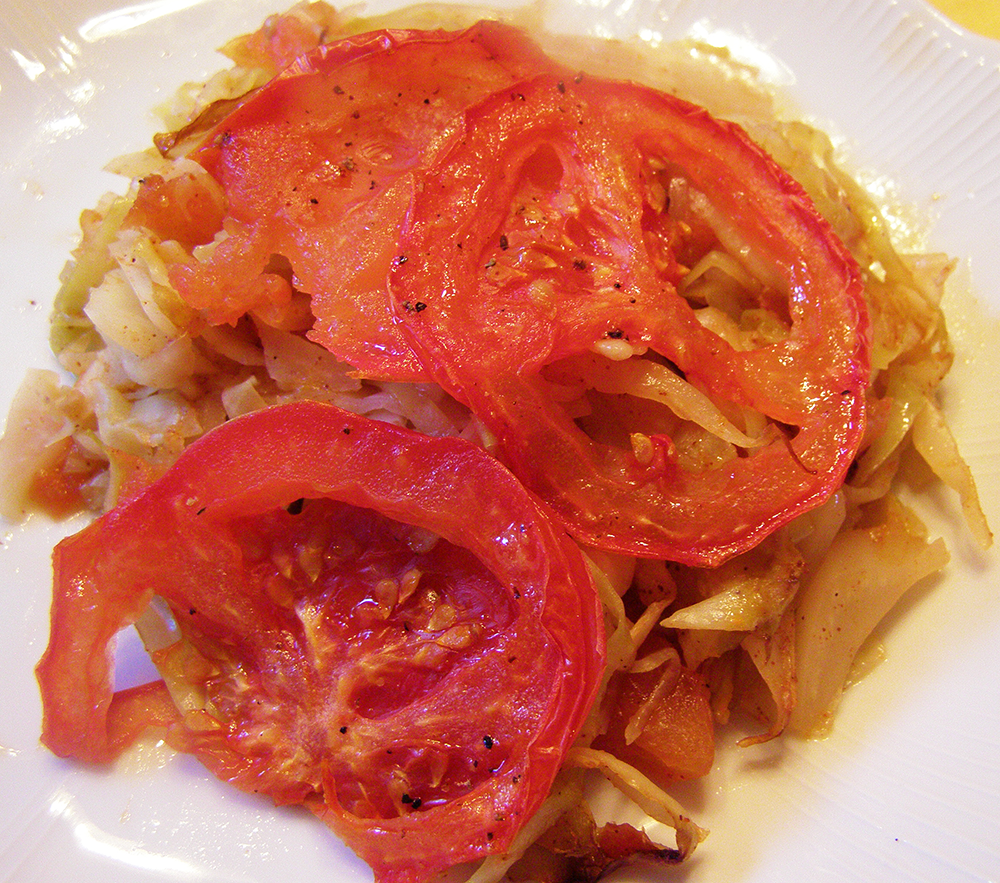 Cabbage Topped with Tomato on Plate