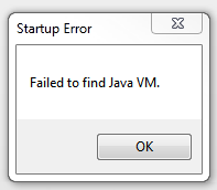 Failed to find java vm