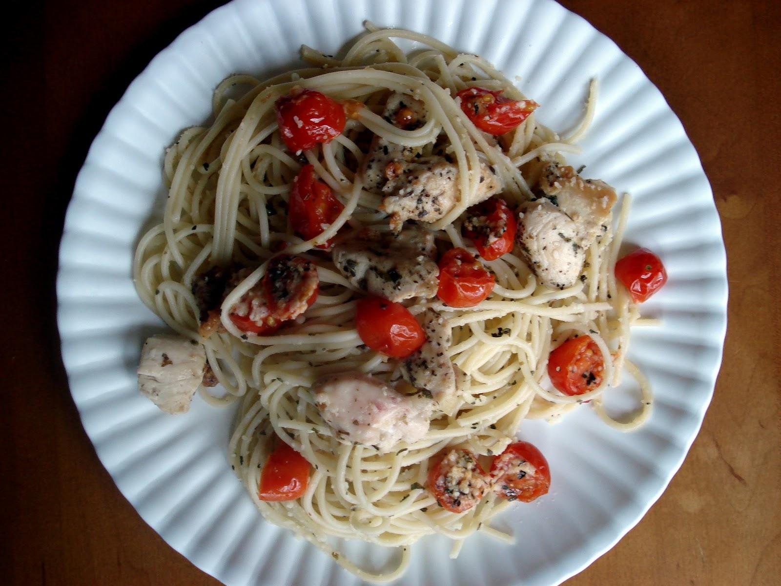 Spaghetti With Sauteed Chicken And Grape Tomatoes Recipes — Dishmaps