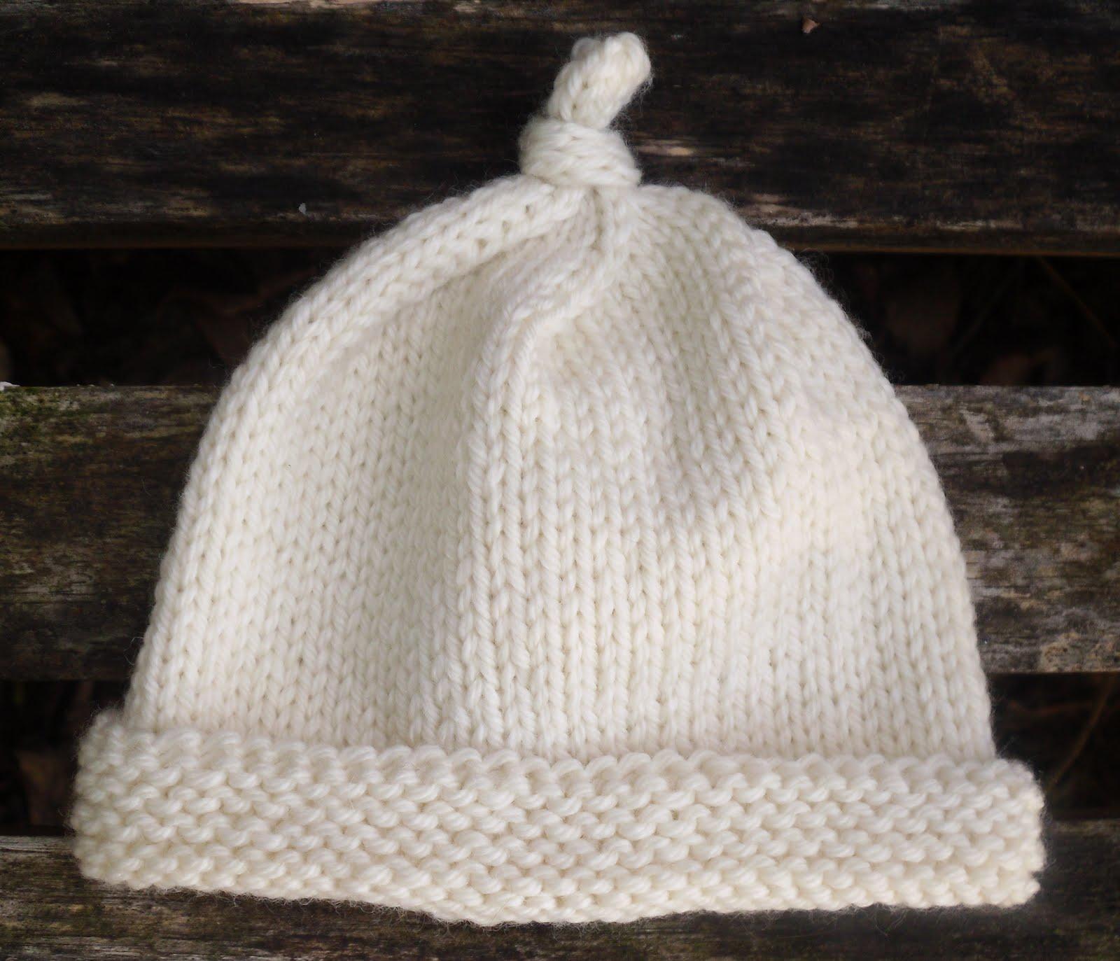 Knitting Pattern Baby Hat Worsted Weight Yarn : Rachels Knits: Newborn Knotty Hat
