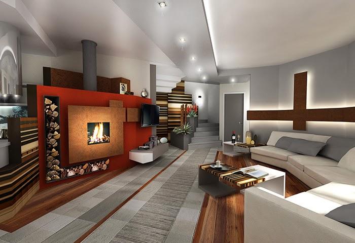 salotto moderno con camino e tv ~ design casa creativa e mobili ... - Immagini Soggiorno Moderno Con Camino 2