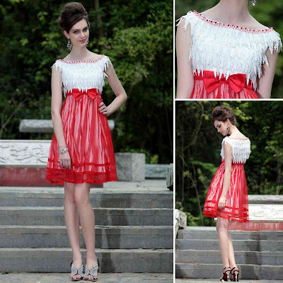 White and Red Bateau Knee Length Dress