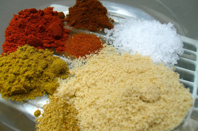 all the delicious spices that go into the marinade