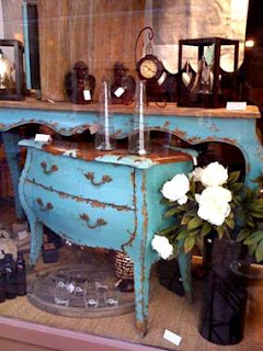 blue painted commode, console table, Paris