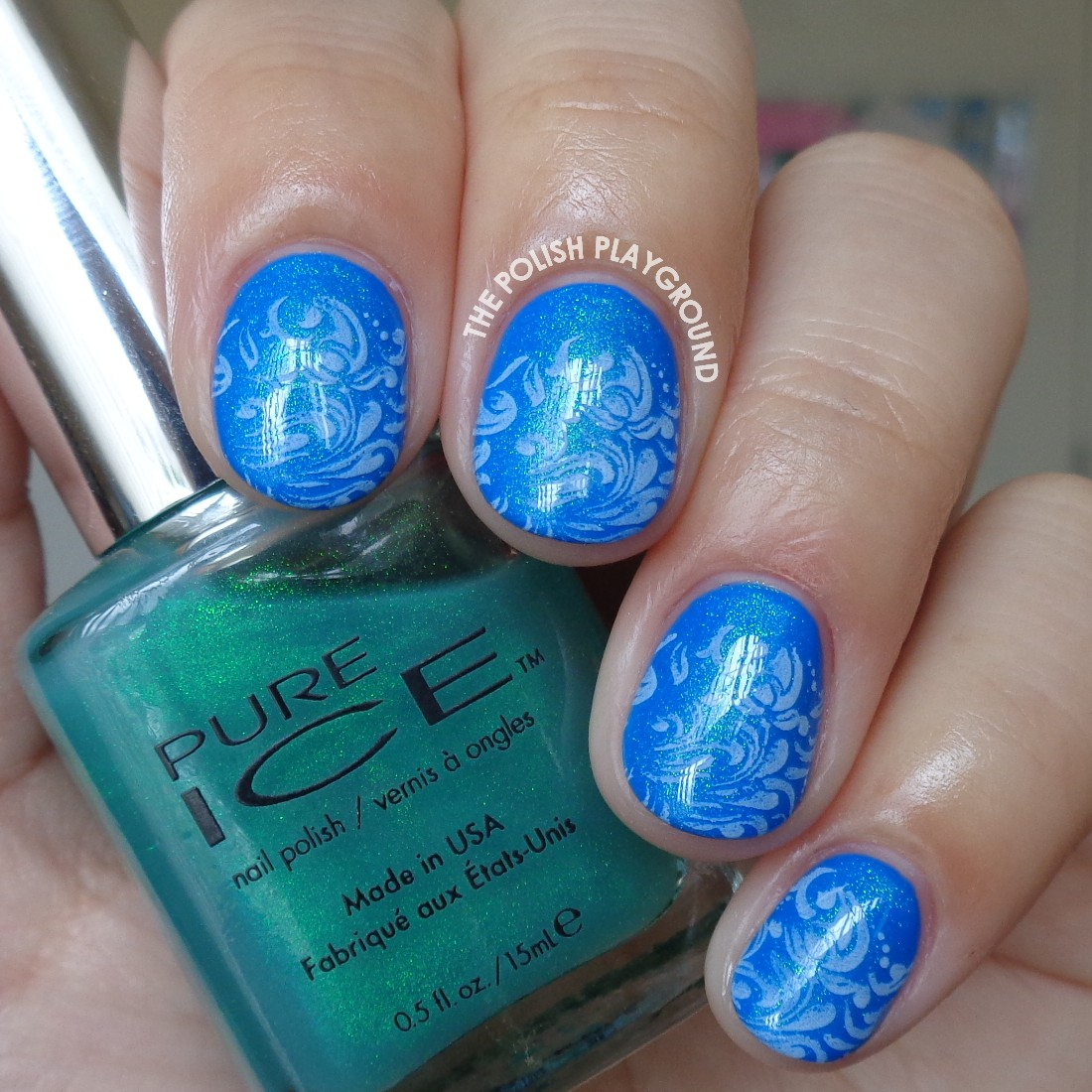 Blue Layering and Faded White Stamping Nail Art