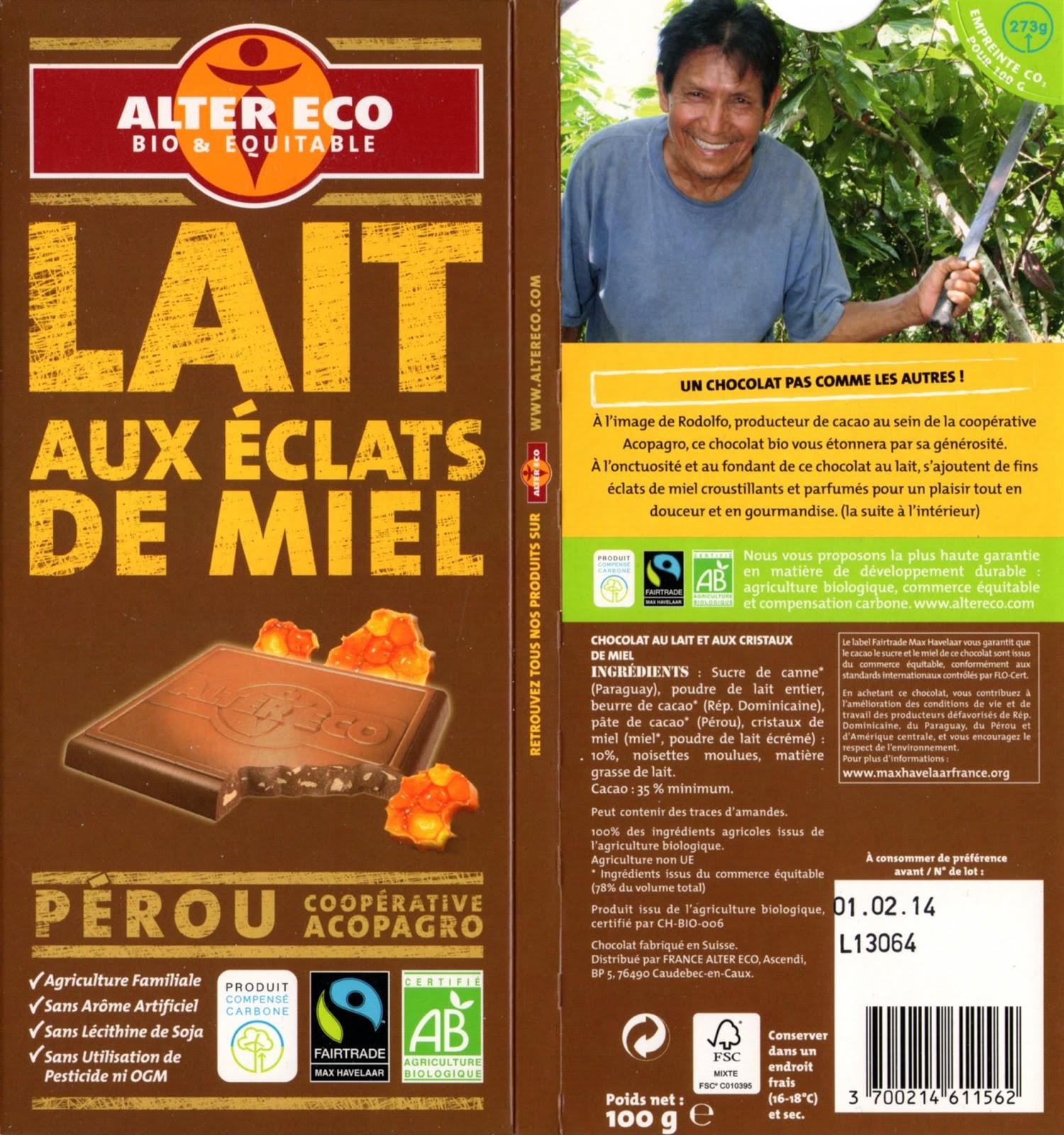 tablette de chocolat lait gourmand alter eco pérou lait aux eclats de miel