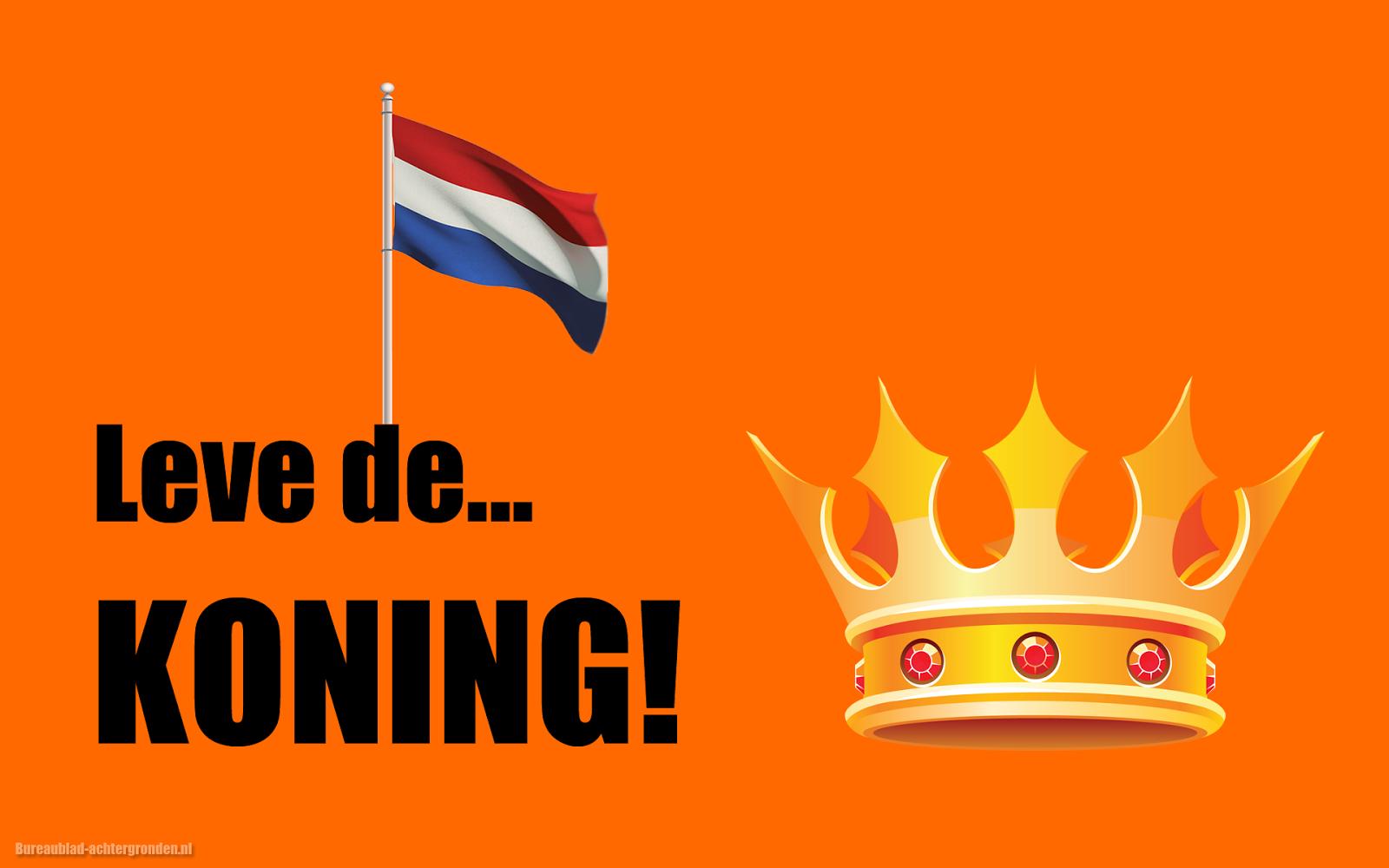Oranje koningsdag wallpaper met tekst lang leve de koning
