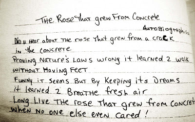 poetry, Tupac, The Rose That Grew From Concrete, autobiography, handwriting, gangster, symbolism