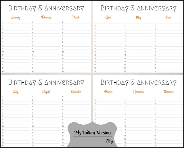 4-Page Layout - Orange Birthday Anniversary Calendar