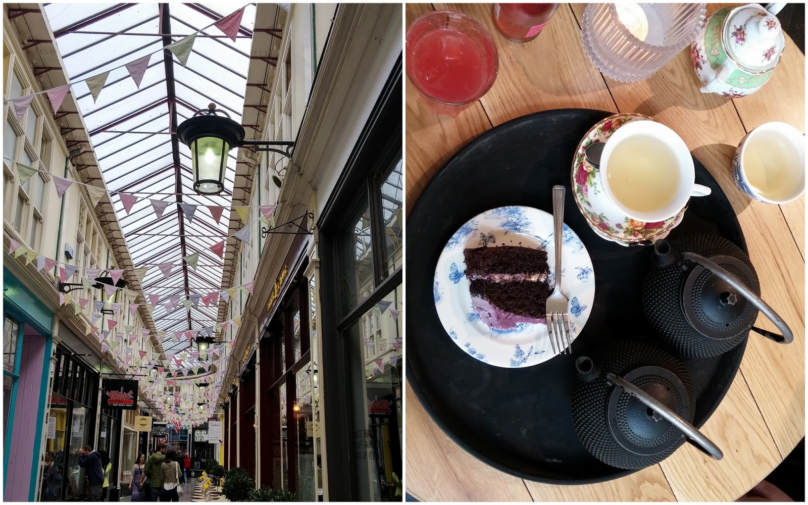 Bunting in Castle Arcade Cardiff tea and parma violet cake in Barker Tea House Cardiff