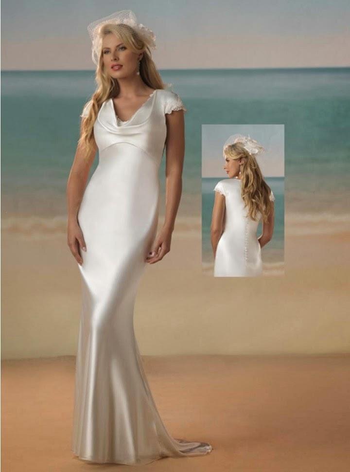 Vestido de Novia Estilo Sirena, Escote Capucha y Manga Corta