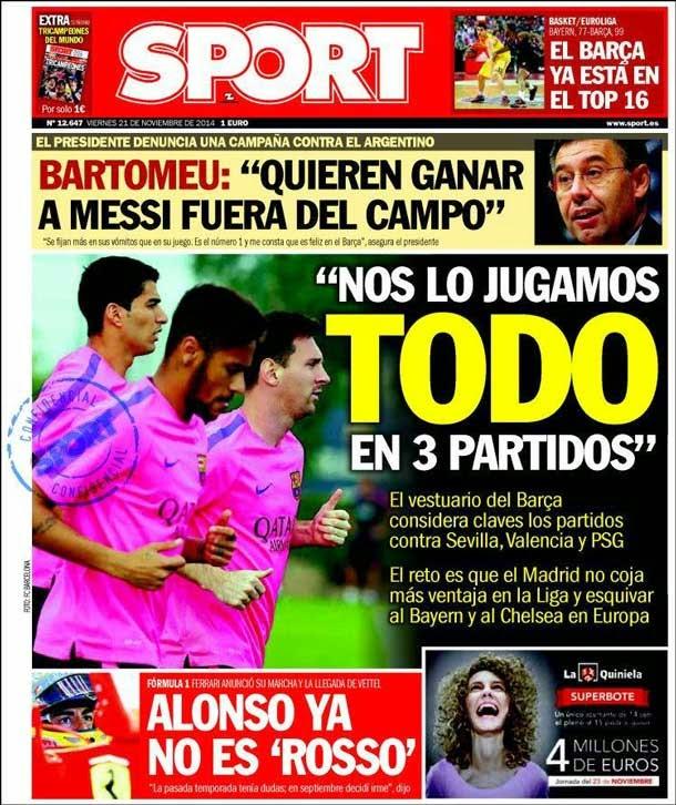 Portada Sport (21/11/2014)