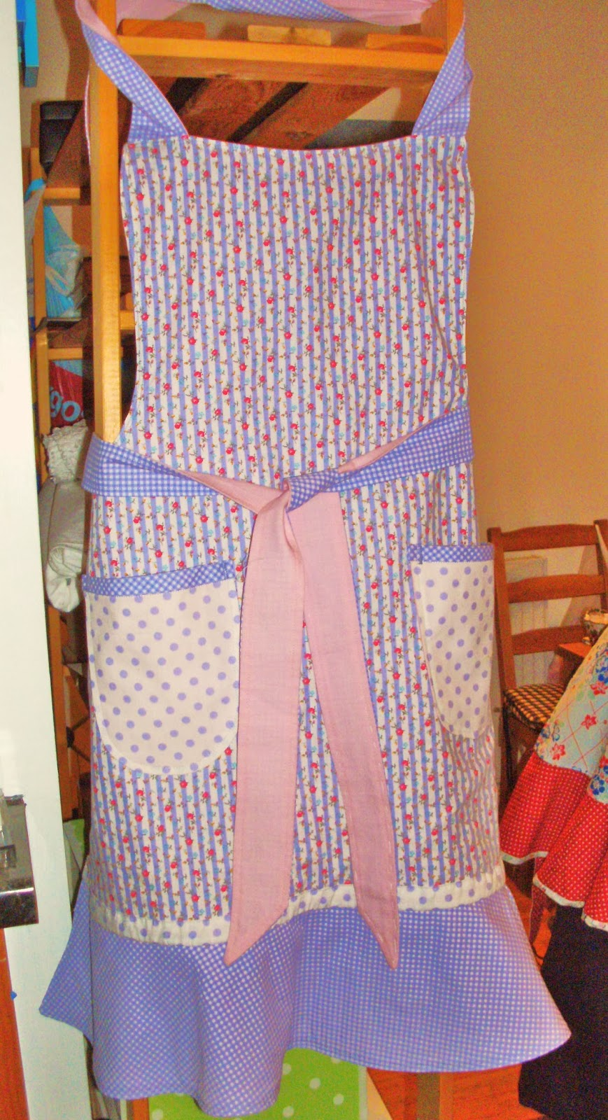 Pink and lavender apron