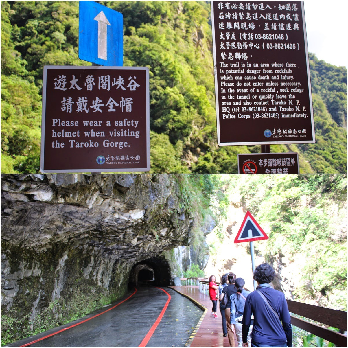 There are warning signs at Swallow Grotto Trail at Taroko Gorge National Park reminding visitors to be constantly wearing helmet due to dangers of rocks fall