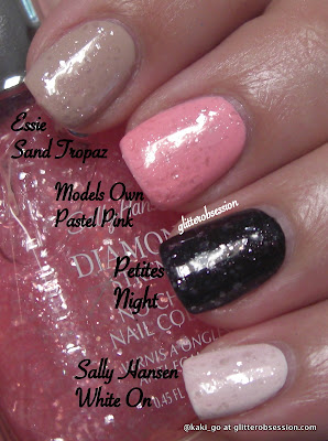 Sally Hansen Princess Cut layered over various polishes