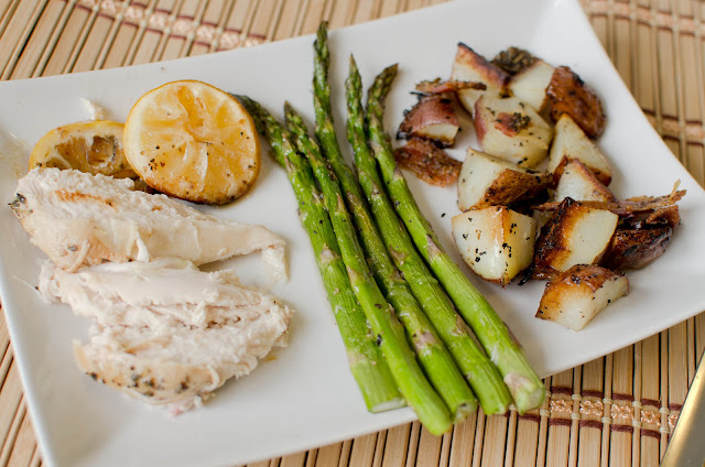 ... Foods!: Lemon Chicken with bacon, potatoes and roasted asparagus