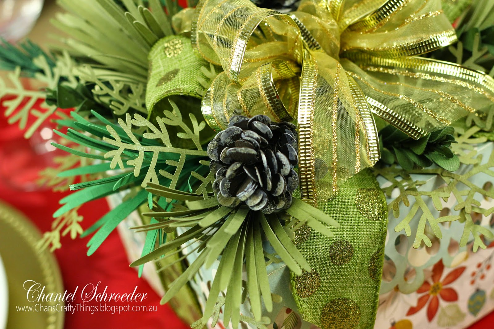 Wintergreen Gift Box Bouquet Centerpiece Close Up