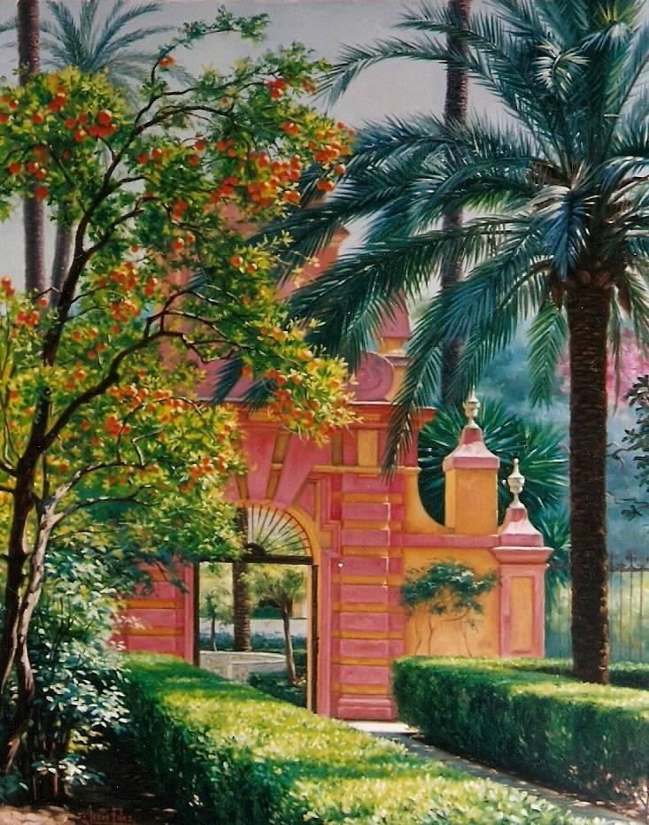 Pintor sevillano jes s fernandez taringa - Oleos de jardines ...