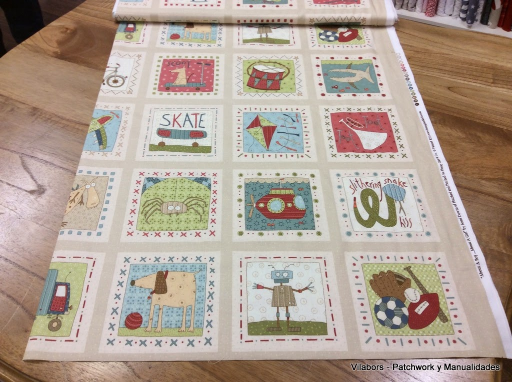 "Colección ""About a Boy & Girl"" de Henry Glass Fabrics - Blocks Boy color Taupe - Patchwork Vilabors"