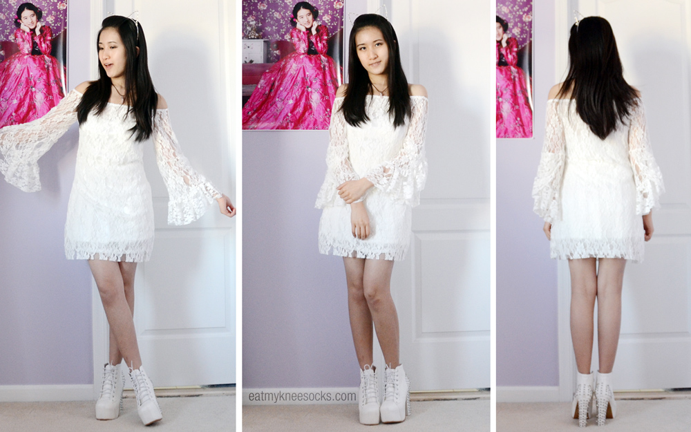 More modeled photos including the white lace Milanoo dress, white platform spiked booties, and white pearl cat headband.