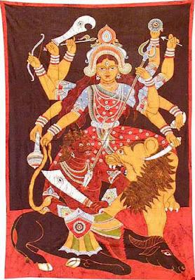 Batik Painting Goddess Durga