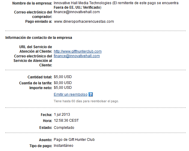 comprobante de pago de gift hunter club