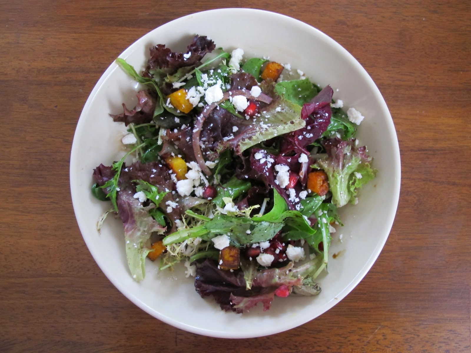 Fall Salad with Pomegranate, Butternut, & Feta