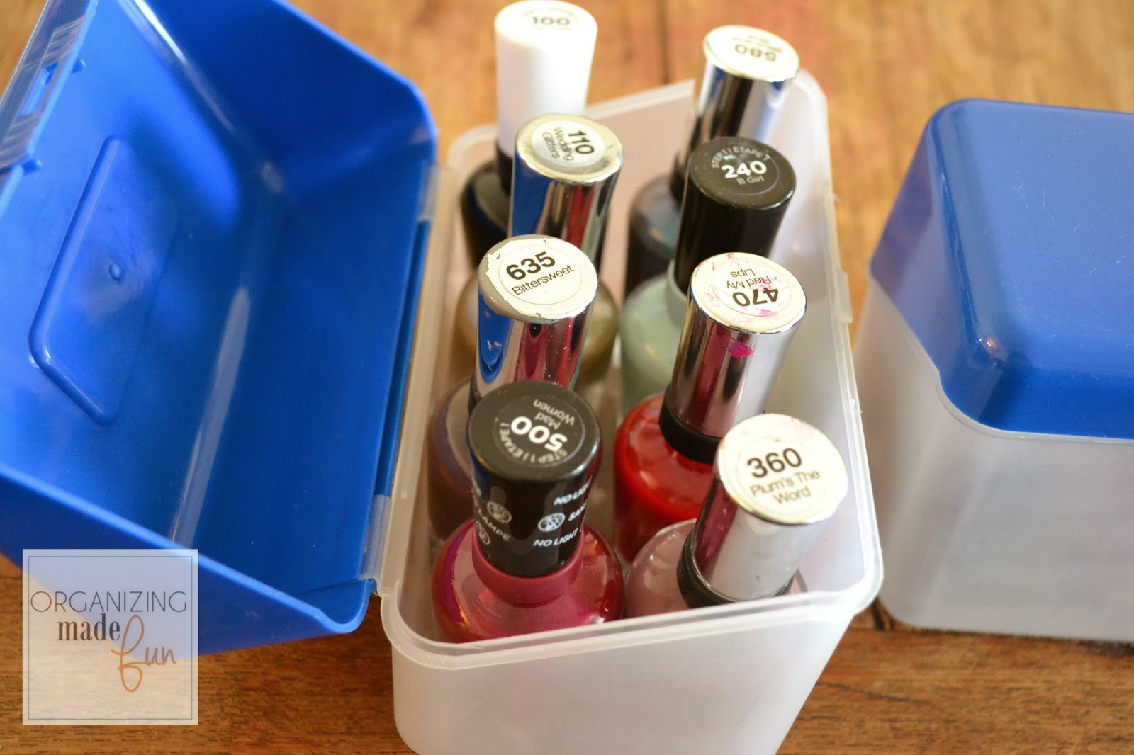 Easy, Inexpensive Nail Polish Organization :: OrganizingMadeFun.com