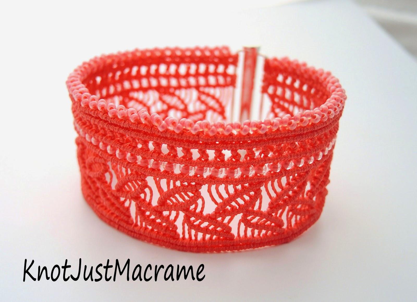 Micro macrame cuff bracelet knotted by Sherri Stokey of Knot Just Macrame.