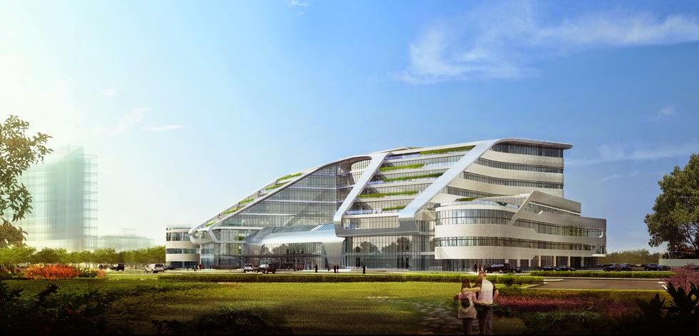 Front Elevation Hospital : Shanghai new hongqiao international medical center shared